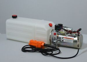Double Acting 12 Volt Dc Hydraulic Power Unit 8 Quart Poly Tank