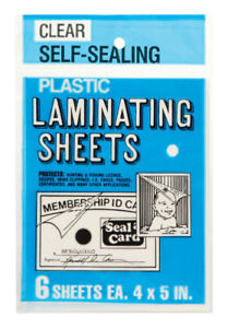 Seal a card Laminating Plastic Sheets 4 X 5 Pack Of 24