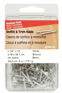 Hillman Soffit Trim Nails 1 1 4 Stainless Steel 15 Ga White Carded 6 Oz pk 5