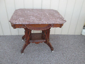 50018 Antique Victorian Marble Top Parlor Table
