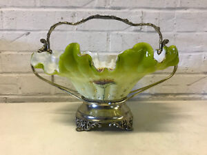 Antique Victorian Silver Plated Glass Enamel Decorated Brides Bridal Basket