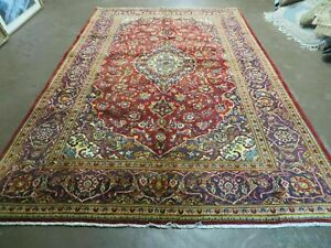 6 X 10 Vintage Hand Made Persian Kashan Wool Rug Carpet Red Nice