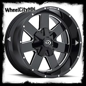 17 Inch Gloss Black Milled Vision Arc 411 Wheels Rims Lifted Ford F150 6x135 12