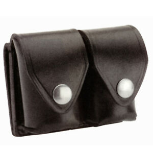 Police Security Sheriff Black Leather Double Belt Speedloader Case Holder Pouch