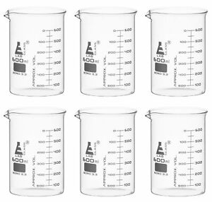 600ml Beakers 6 Pack Astm Low Form Eisco Labs Borosilicate Glass
