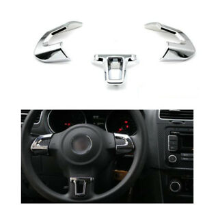 3pcs Chrome Steering Wheel Cover Trim Sticker For Vw Golf Mk6 Polo 2011 2012lhd