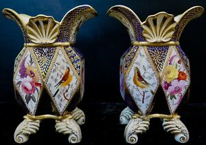 Vintage Late 19th Century Pair Of Paris Porcelain Vases