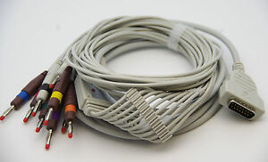 1 Piece Ecg ekg Cable For Ge marquette 10 Lead 4mm Pin Aha Color New In Usa