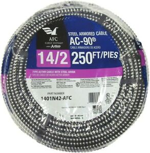 250 Ft 14 2 Solid Cu Ac 90 Steel Armored Cable Indoor Electrical Circuit Wire