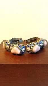 Vintage Chinese Cloisonne And Pink Rock Crystal Sterling Filigree Link Bracelet