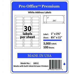 Pro Office Premium Shipping Labels Self Adhesive 30 Per Sheet 1 X 2 5 8