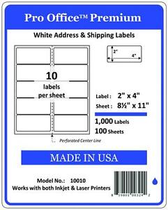 Pro Office Premium Shipping Labels Self Adhesive 10 Per Sheet 2 X 4