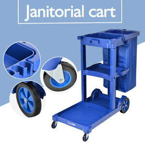 Us Commercial Housekeeping Janitorial Cart Car With Vinyl Bag Without Cover Blue