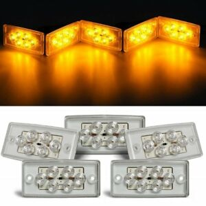 Rectangle Amber 6 Led Cab Roof Top Clearance Marker Light For Freightliner 5pcs