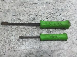 Snap On Spbs8a And Spbs12a Striking Pry Bars Grn Handle Free Shipping