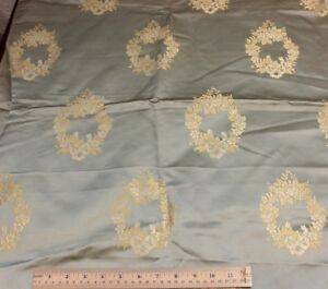 Antique French Ice Blue Silk Sample Fabric C1880 Rose Wreaths 35 L X 53 L