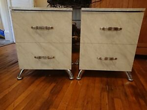 Vintage Pair Art Deco Mid Cent Mod White Nightstands Made In Italy