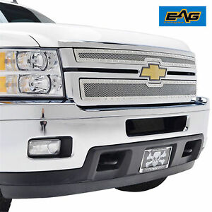 Eag 11 14 Chevy Silverado 2500 3500 Hd Grille Rivet Chrome Ss Wire Mesh Insert