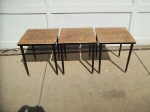 3 Vintage Mid Century Modern Nesting Stacking Tables Unique Design Black Accents