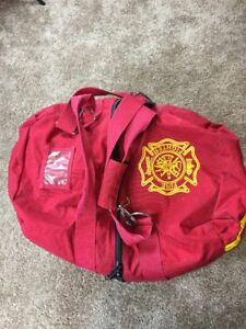 Firefighter Turnout Gear Bag Large Full Size Reflective Stripes Red