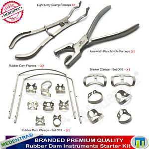 Rubber Dam Instruments Dental Ainsworth Punch Forceps Clamps Ivory Frame 18 Pcs