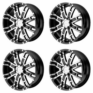 4x Helo 17x8 He835 Wheels Gloss Black Machined 8x6 5 8x165 1 0mm Offset 4 50