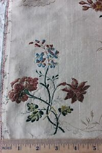 Antique French 18thc Floral Lyon Silk Brocade Fabric C1760 17 L X 19 W