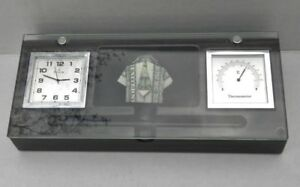 Bulova Office Desk Clock Thermometer And Card Holder Tempered Glass Cover
