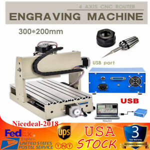 4 Axis 3020t Cnc Router Engraving Drilling Milling Machine Woodworking Usb Port