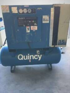Quincy 15 Hp Rotary Air Compressor Qmt15 With120 Gallon Tank 480v