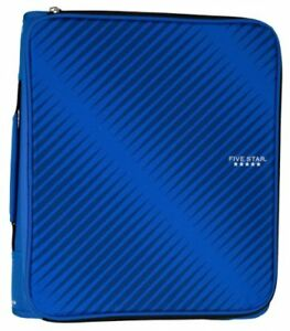 Five Star 2 Inch Zipper Binder With 6 pocket Expanding File Durable Blue 72534