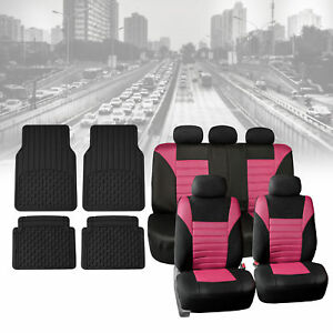 Seat Cover For Auto Pink 60 40 Split Bench With Black Floor Mats Combo