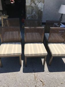 Vintage Mid Century Modern Lane Furniture Cane Back Dining Set