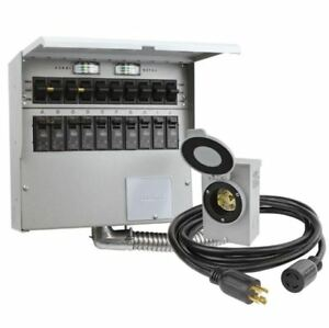 Transfer Switch Kit 10 circuit 30 amp Manual Transfer Switch W Generator Cord
