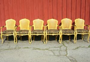 Set Of 6 Vintage Painted French Decorator Armchairs