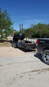 16ft Trailer With Custom Built Smoker Prep Table And Wood Holder Beautiful