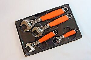 Snap On Tools Orange Adjustable Wrench Set 4pc Flank Drive With Cushion Grips
