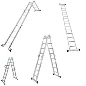 15 5ft Multi Purpose Aluminum Fold Step Ladder Foldable Extension Heavy 16 step
