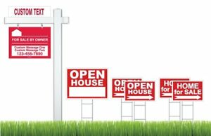 Deluxe Home For Sale Sign Kit 7 Real Estate Signs And Vinyl Pvc Real Estate Kit