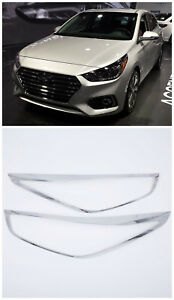 Abs Front Head Lamp Light Cover Trim 2pcs For Hyundai Accent Solaris Verna 18 19