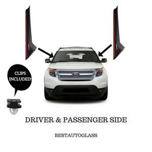 11 19 Ford Explorer Windshield Outer Trim Molding Passenger driver Side W Clips