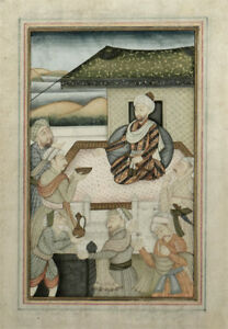 18th Century Indian Persian Mughal Miniature Painting Of Emperor Humayun Court