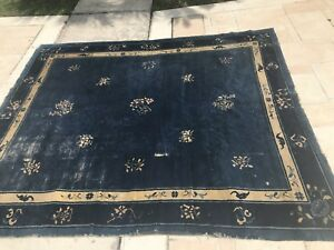Antique Vintage Chinese Rug Hand Made Oriental Rug 1920s Blue