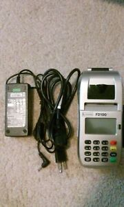 Used First Data Fd100ti Card Terminal Reader Point Of Sale Pos 25 Paper Roll