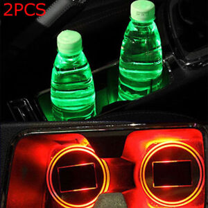 2pcs Solar Car Cup Holder Bottom Pad Led Light Cover Trim Atmosphere Lamp Bulb