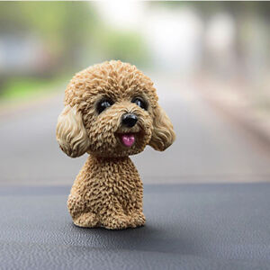 1x Car Resin Decoration Toy Ornament Teddy Dog Bobble Gift Shaking The Head Doll