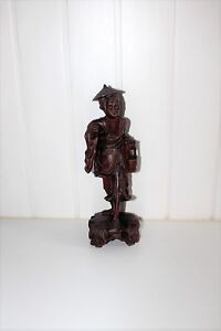 Vtg Japanese Chinese Carved Wood Old Man Sculpture Signed Asian Figurine Statue