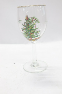 Lot Of 7 Spode Christmas Tree Wine Goblets With Gold Rims