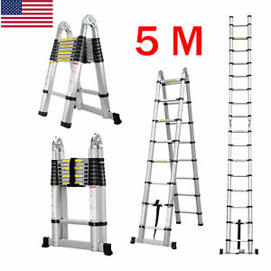 16 4ft 5m Multi purpose Telescopic Ladder Extension Foldable Step Ladder 330 Lb