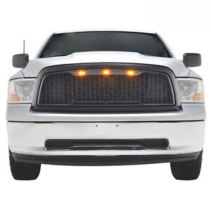 2009 2012 Dodge Ram 1500 Replacement Abs Led Grille Upper Front Grill Black